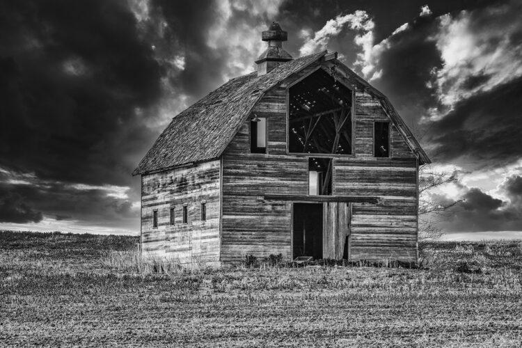 Fine art photography prints   Gretna Barn Storm Clouds Silver
